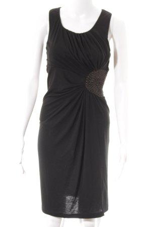 Sisley Stretchkleid schwarz-graubraun Punktemuster klassischer Stil