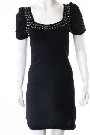 Sisley Strickkleid schwarz mit Nieten