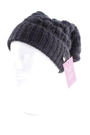 Sisley Chapeau en tricot noir motif tricoté lâche molletonné