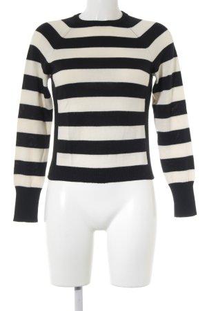 Sisley Strickpullover schwarz-creme Streifenmuster Casual-Look