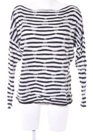 Sisley Strickpullover weiß-schwarz Streifenmuster Kuschel-Optik