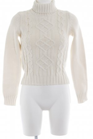 Sisley Strickpullover wollweiß Zopfmuster Casual-Look