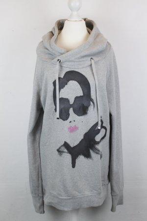 Sisley Sweater Kapuzenpullover Hoodie Gr. L grau Audrey Hepburn Print