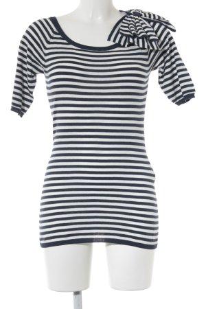 Sisley T-Shirt weiß-dunkelblau Streifenmuster Casual-Look