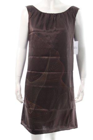 Sisley Trägerkleid dunkelbraun-braun abstraktes Muster Eleganz-Look