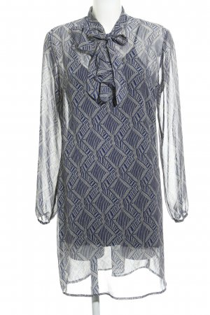 Sisley Tunikakleid wollweiß-stahlblau abstraktes Muster Casual-Look