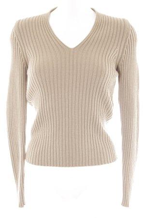 Sisley V-Ausschnitt-Pullover beige Webmuster Casual-Look