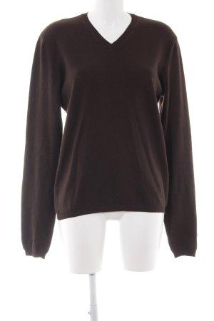 Sisley V-Ausschnitt-Pullover dunkelbraun Business-Look