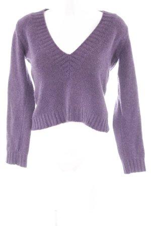 Sisley V-Ausschnitt-Pullover lila Casual-Look