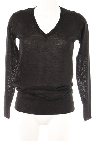 Sisley V-Ausschnitt-Pullover schwarz Casual-Look