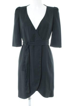 Sisley Wickelkleid schwarz Nadelstreifen Brit-Look