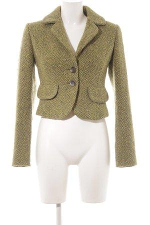 Sisley Blazer in lana verde oliva-verde scuro spina di pesce stile semplice