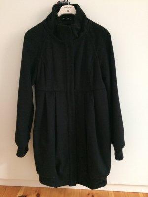 SISLEY Wollmantel Mantel Wool Coat Wolle Schwarz Gr. 36 (42)