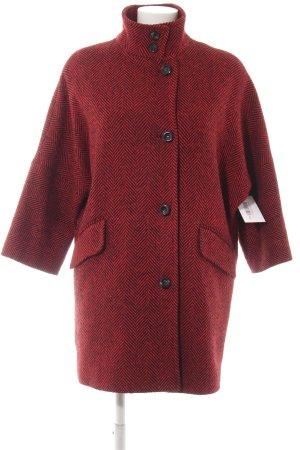 Sisley Wollmantel rot-schwarz Fischgrätmuster Street-Fashion-Look