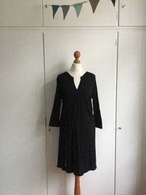 Sissy Boy | Jersey Kleid | Dunkelblau mit Schwarz | Kleiner V-Ausschnitt | Ledergürtel | Gr. S