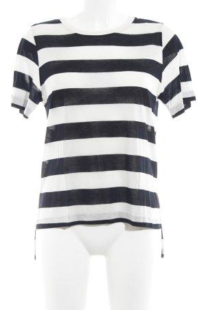 Sissy - Boy Top à capuche noir-blanc motif rayé style décontracté