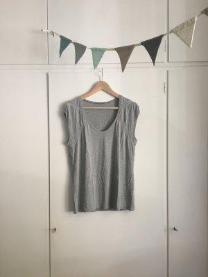 Sissy Boy | Shirt | V-Ausschnitt mit Häkel-Verzierungen | Hellgrau meliert | Gr. S