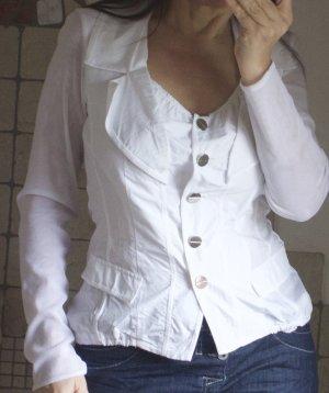Siste's Bluse, Blusenjacke, weiß, tailliert, tiefer Ausschnitt mit Revers Gr. S/M