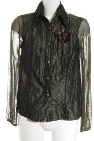 Siste's Langarm-Bluse khaki Glanz-Optik