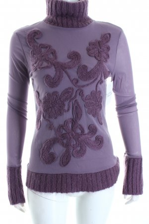 Siste's Rollkragenpullover graulila florales Muster Romantik-Look
