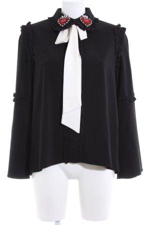 Sister Jane Rüschen-Bluse schwarz-weiß Elegant