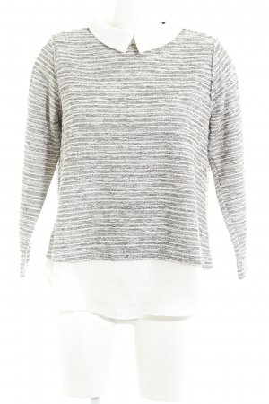 Sister Jane Knitted Sweater grey-natural white striped pattern glittery