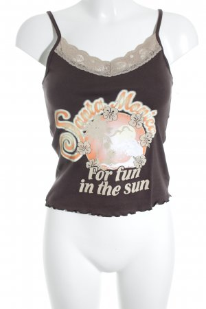 Sisters point Trägertop dunkelbraun-beige platzierter Druck Street-Fashion-Look