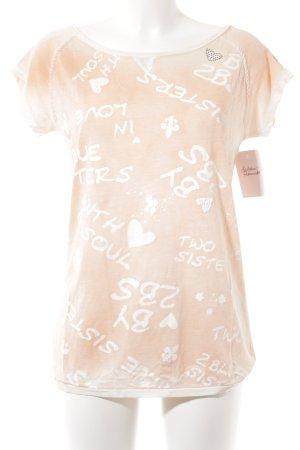 sisters T-Shirt hellorange-weiß Schriftzug gedruckt Casual-Look