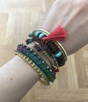SIX Armbänder Gold bunt Blogger Schmuck boho