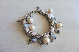 Six Armband Kettchen silber Satinband Perlen creme rose nude Blätter