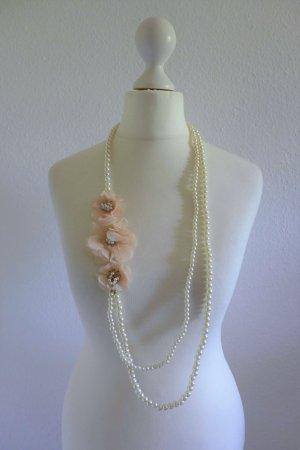 Six Bijou Brigitte Kette Perlenkette Blüten Blumen gold weiß nude