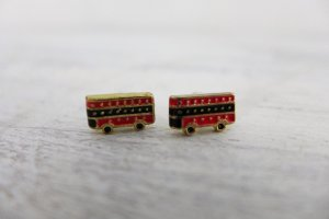 SIX Bijou Brigitte Ohrringe Ohrstecker London Doppeldeckerbus schwarz rot gold