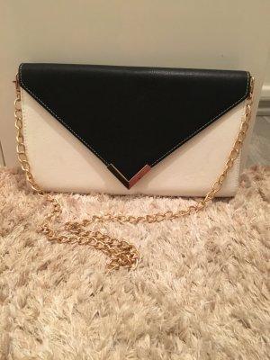 Six Handtasche schwarz/weiß mit goldener Kette NEU