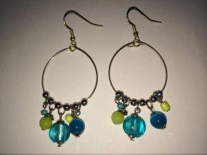 SIX Ohrhänger blau, grün