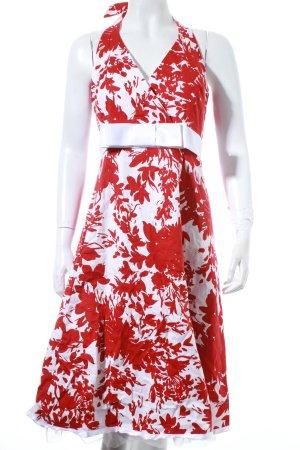 Sixth Sense Neckholderkleid weiß-rot florales Muster Rockabilly-Look