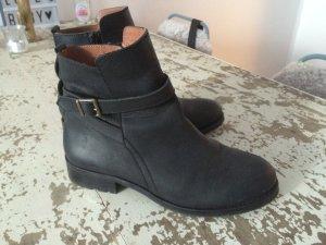 Botas de tobillo negro-marrón Cuero
