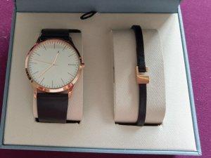 Skagen skw1102 neu Uhr Set Uhrenset Armband Leder rosė/schwarz