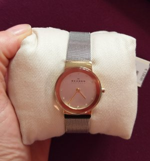 skagen slim line bicolor swarovski damenuhr armbanduhr neu edelstahl