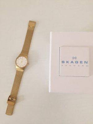 Skagen Uhr Damen Edelstahl in gold, voll funktionsfähig, sehr guter Zustand