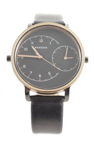 """Skagen Horloge met lederen riempje """"Ladies Hagen Dual Timer Leather Watch Black/Black"""""""