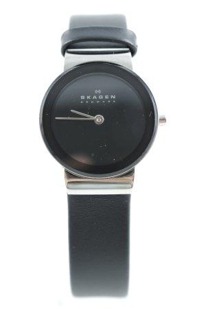 Skagen Orologio con cinturino di pelle nero-argento stile minimalista