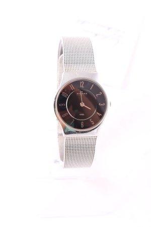 Skagen Uhr mit Metallband silberfarben-schwarz klassischer Stil