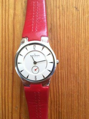 Skagen Uhr, ultra slim, rotes Lederarmband, stainless steel