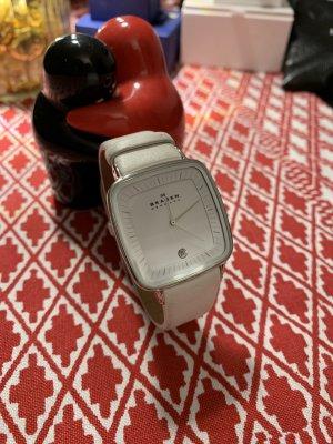 Skagen Uhr weiß Leder