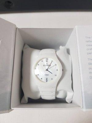 SKAGEN White Ceramic Swarovski Crystal Damen Uhr