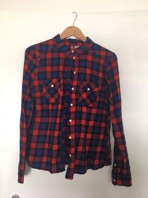 H&M Houthakkershemd donkerblauw-rood