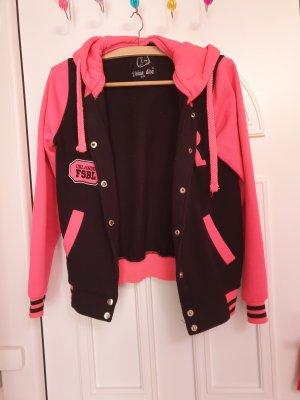 Chaqueta estilo camisa negro-rosa neón
