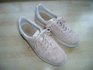 Skechers bequeme Damen Sneakers Leder Wildleder Rosa Weiß Gr 40 neuwertig