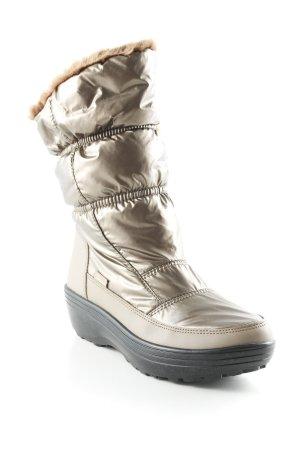 Skechers Snow Boots bronze-colored-beige quilting pattern wet-look