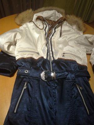 Sportalm Pantalon de sport blanc-bleu foncé